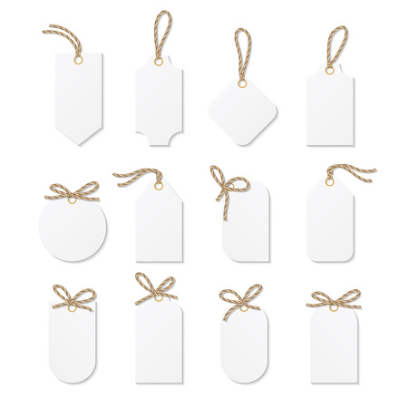 tied up: Set of tags and labels tied up with rope bows and ribbons Illustration