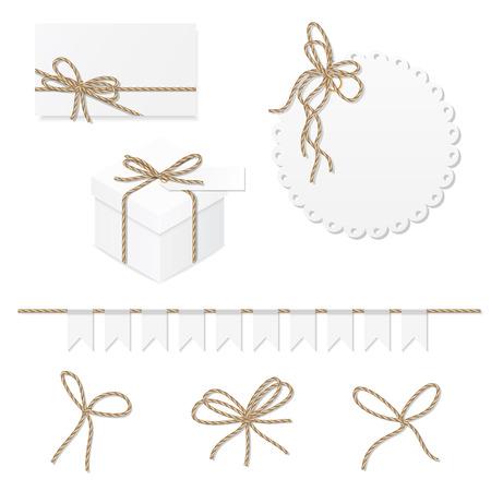 Celebration set of card, box, label, banner and rope bows Ilustração