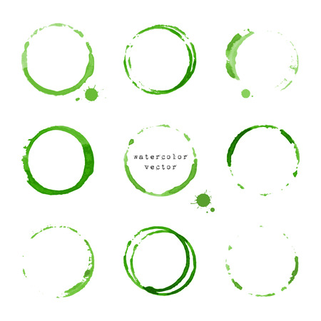 slick: Collection of green watercolor round stains and blots on white background Illustration