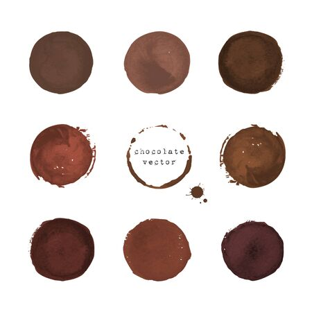 Collection of chocolate round stains and blots on white background Illustration