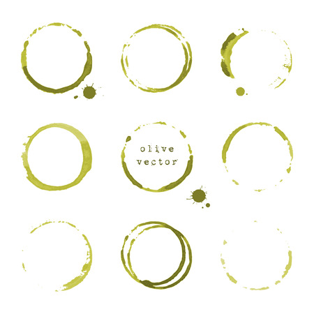 slick: Collection of olive round stains and blots on white background