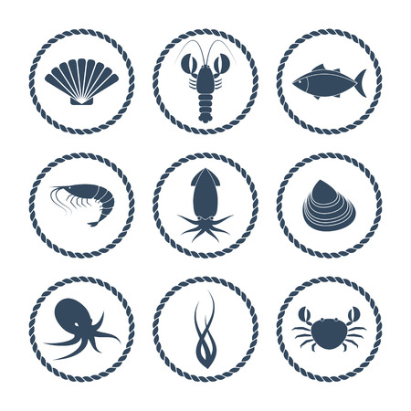 Collection of round seafood icons in flat style Vettoriali