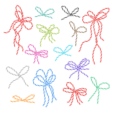 favour: Collection of multicolored bakers twine bows on white background