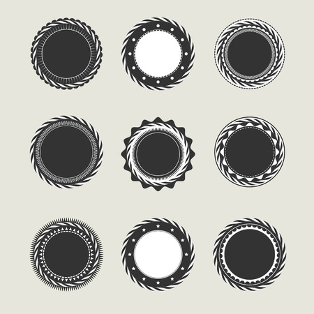 ideograph: Collection of black vintage badges and labels templates