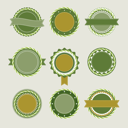 ideograph: Collection of green olive vintage badges and labels templates Illustration