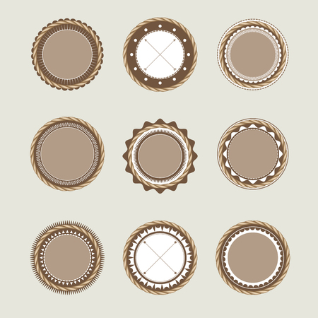circle frames: Collection of beige brown vintage badges and labels templates