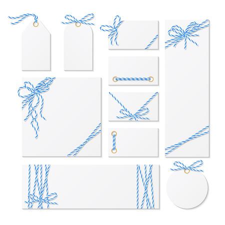 lazo regalo: Conjunto de tarjetas, etiquetas y etiquetas atadas con cordeles azules panaderos arcos y cintas