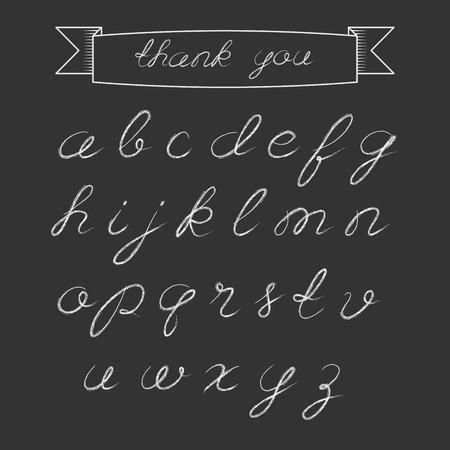minuscule: Illustration of hand drawn chalk minuscule alphabet on black background.