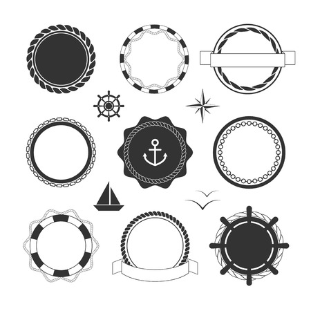 on the ropes: Collection of black nautical icons and badges templates Illustration