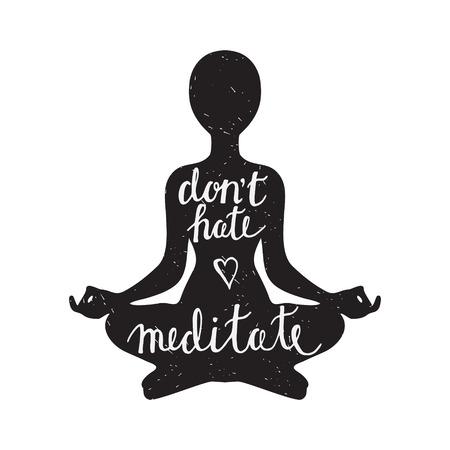 ifade: Beyaz zemin üzerine barışçıl deyimi ile Meditasyon siyah siluet Çizim