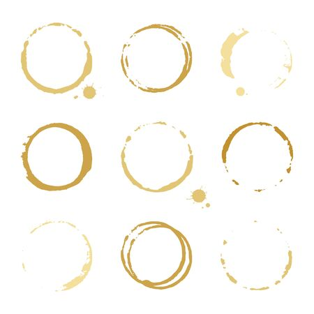 slick: Collection of gold round stains and blots on white background Illustration