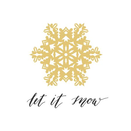 let it snow: Let it snow greeting card with gold snowflake on white background