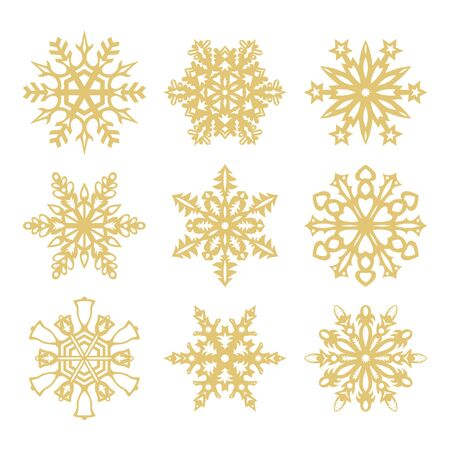 kirigami: Collection of gold snowflakes icons on white background