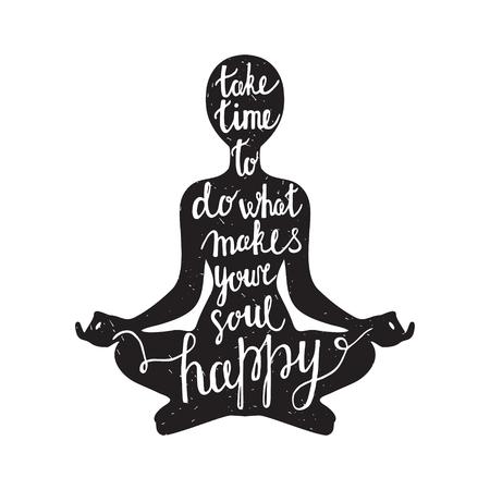 Meditatie zwart silhouet met citaat over de tijd en de ziel op een witte achtergrond
