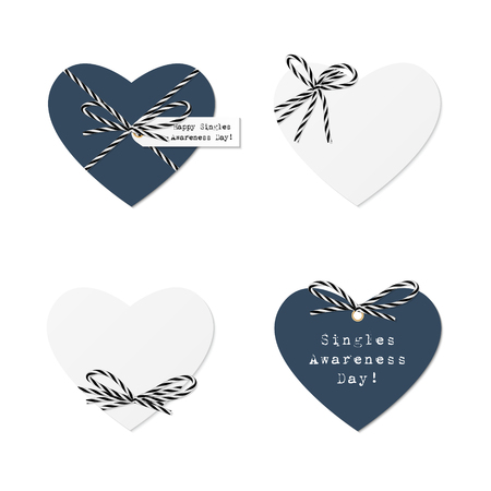 awareness ribbons: Singles awareness day hearts with black bakers twine bows and ribbons on white background Illustration