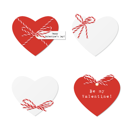 beguin: Saint Valentine day hearts with red bakers twine bows and ribbons on white background