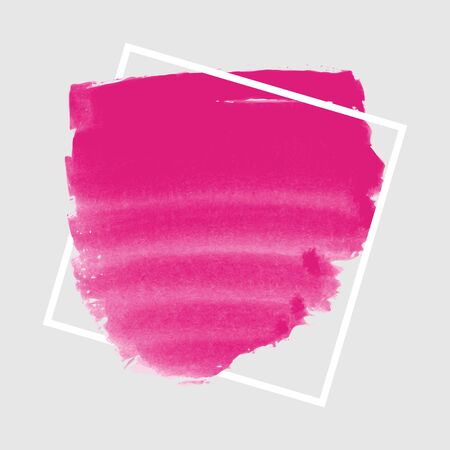 ink spill: Pink ink banner with frame on grey background