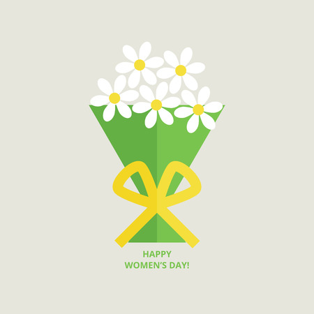 felicitation: International womens day greeting card with bouquet in flat style Illustration