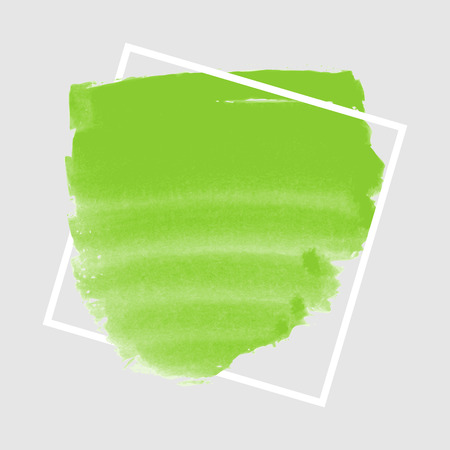green ink: Green ink banner with frame on grey background