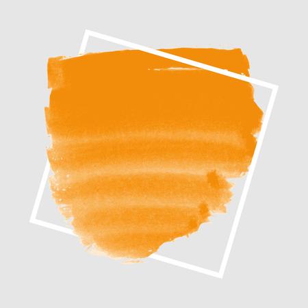 mandarins: Orange ink banner with frame on grey background Illustration