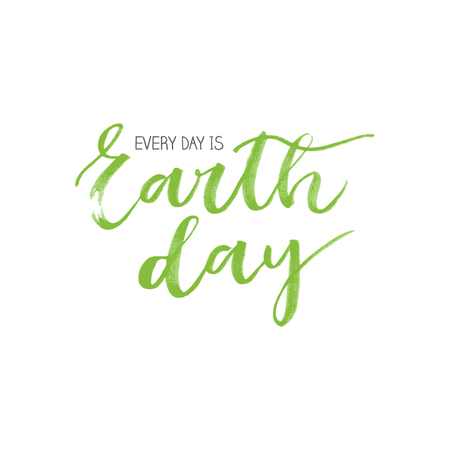 superscription: Earth day green watercolor written motivational card on white background