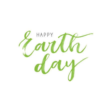 superscription: Earth day  written card on white background