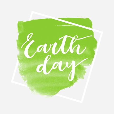 superscription: Earth day card on green watercolor framed background Illustration