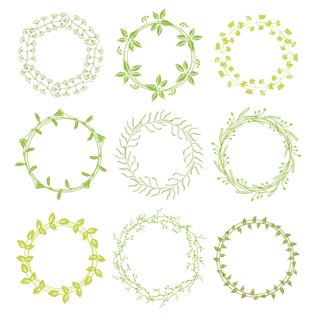 green flowers: green round floral frames with space to your text on white background