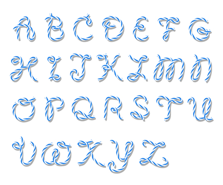 majuscule: Illustration of capital letters alphabet in blue bakers twine style on white background Illustration