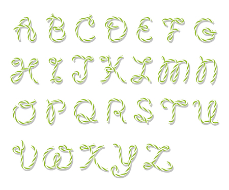 majuscule: Illustration of capital letters alphabet in bakers twine style on white background