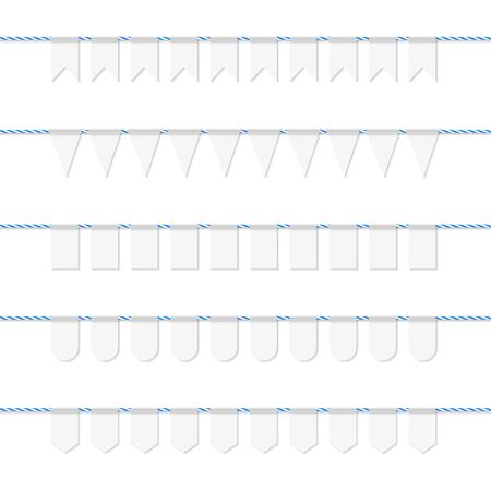 twine: Collection of white bunting on blue bakers twine