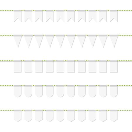 twine: Collection of white bunting on yellow green bakers twine