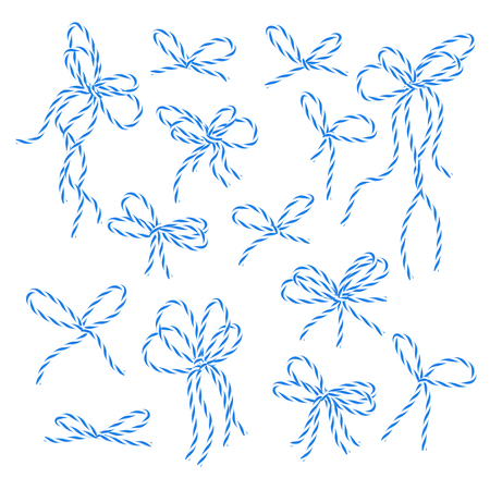 twine: Collection of blue bakers twine bows on white background