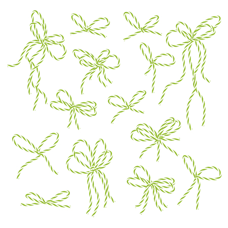 twine: Collection of yellow green bakers twine bows on white background