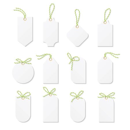 tied up: Set tags and labels tied up with yellow green bakers twine bows and ribbons