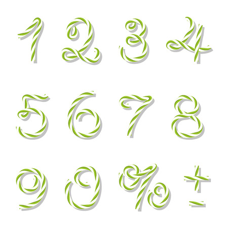 twine: Numbers in yellow green bakers twine style on white background