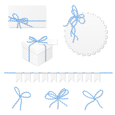 Celebration set of card, box, label, and blue bakers twine bows