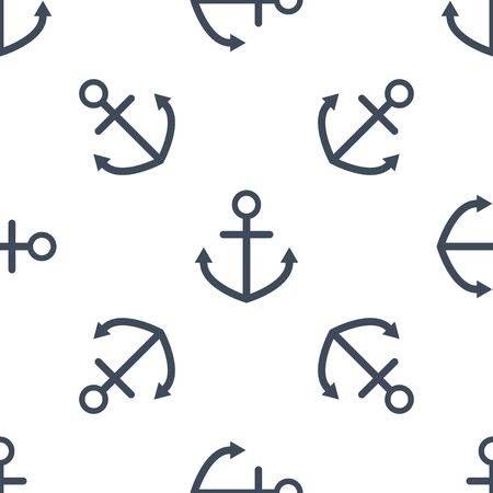 navy blue background: Seamless pattern with navy blue anchors on white background