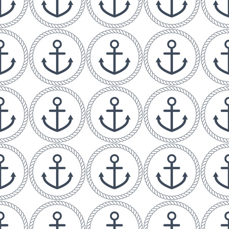 navy blue background: Seamless pattern with navy blue anchors and rope circles on white background