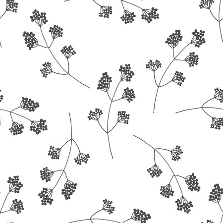 verdant: Hand drawn black and white floral seamless pattern