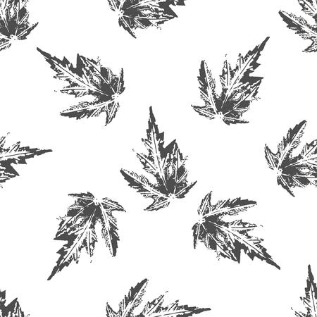 imprints: Black maple leaves imprints seamless pattern on white background Illustration