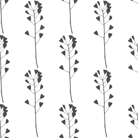 verdant: Hand drawn black and white meadow grass seamless pattern