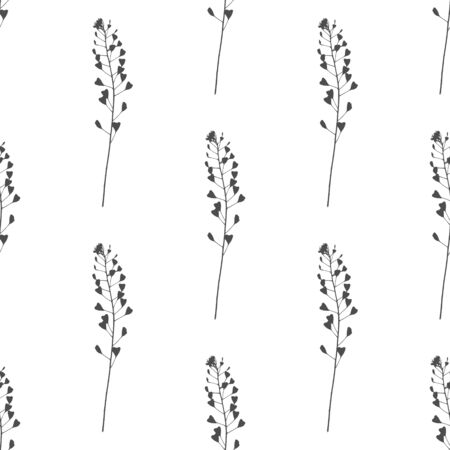vealy: Hand drawn black and white meadow grass seamless pattern