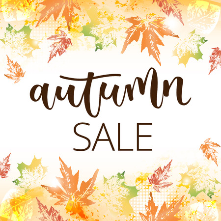 disposition: Autumn sale hand written inscription on fall leaves background