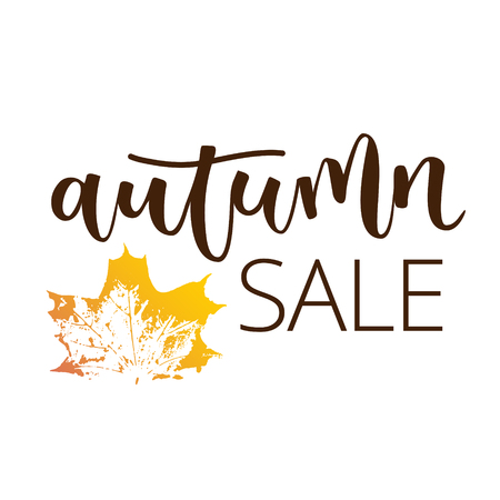 disposition: Autumn sale hand written inscription with fall maple leaf on white background