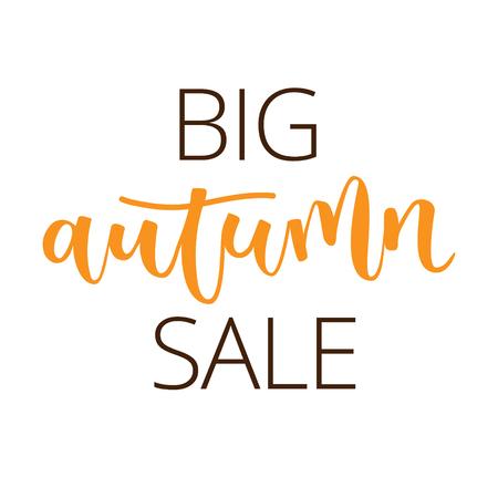 realization: Autumn sale white hand written inscription on white background Illustration