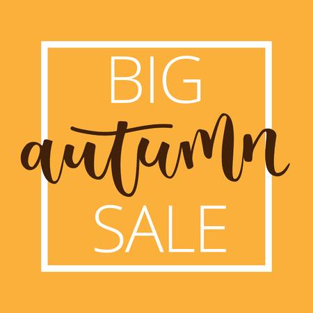disposition: Autumn sale hand written inscription with frame on orange background