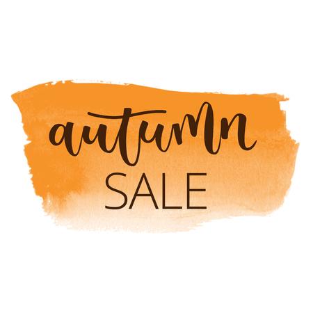 Autumn sale white hand written inscription on orange banner watercolor background