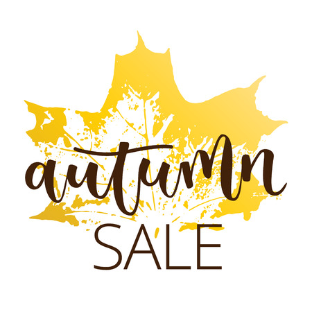 leafage: Autumn sale hand written inscription with fall maple leaf on white background