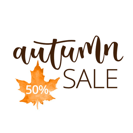 disposition: Autumn sale hand written inscription with orange watercolor maple leaf on white background
